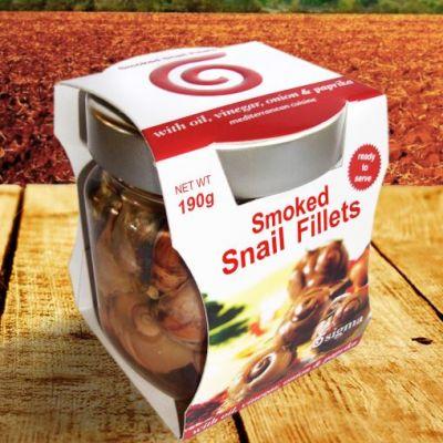 Καπνιστά Φιλέτα Σαλιγκαριών με λάδι, ξύδι, πάπρικα και κρεμμύδι